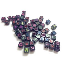 Perles Noir Lettre Alphabet Ecriture Mixte Cube 6mm Lettre Aléatoire