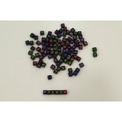 Lot de Perles Noir Lettre Alphabet Cube 6mm Ecriture Mixte