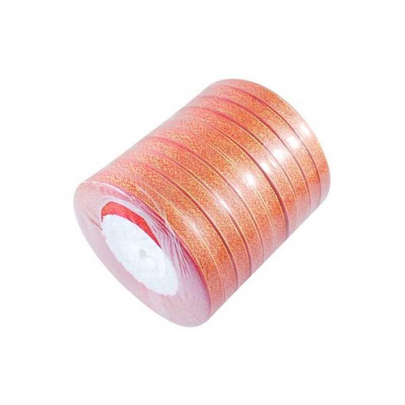 1 Rouleau Ruban Satin Sparkle 6mm avec Filet Doré environ 30m Ruban Etincelle