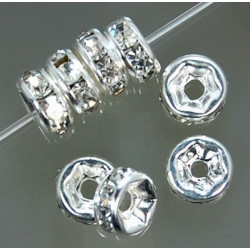 Lot 5-10-20-50 Pieces Perle Strass Intercalaire Argenté 8mm Rondelle