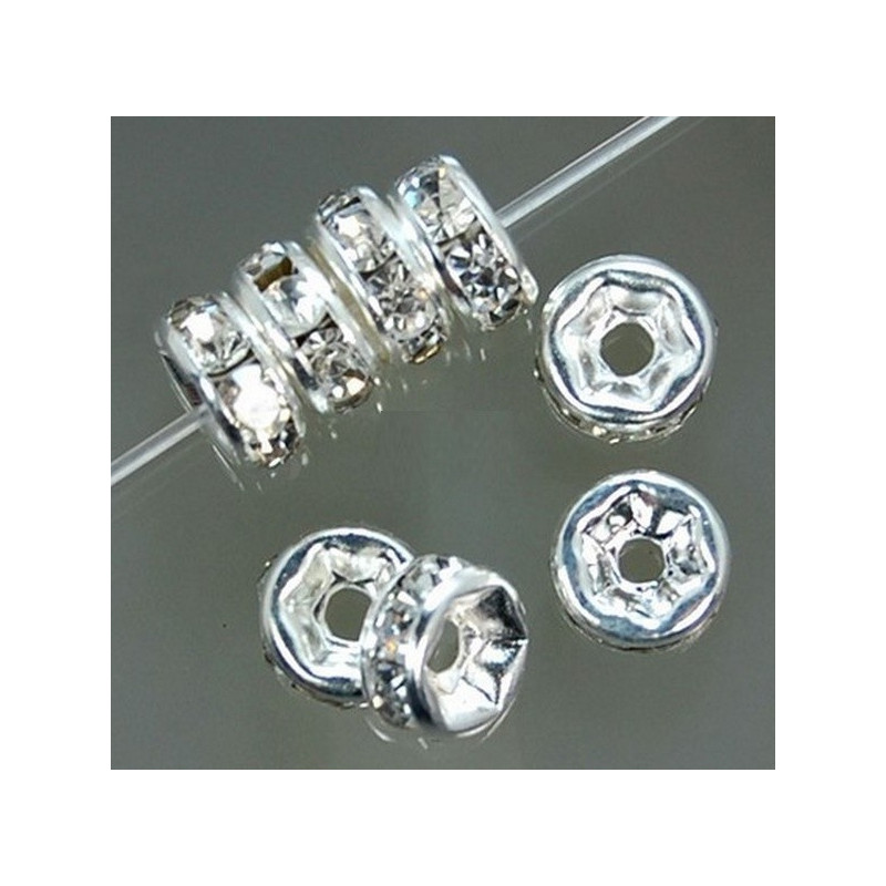 Lot 20 Perle Rondelle strass Argenté 8mm