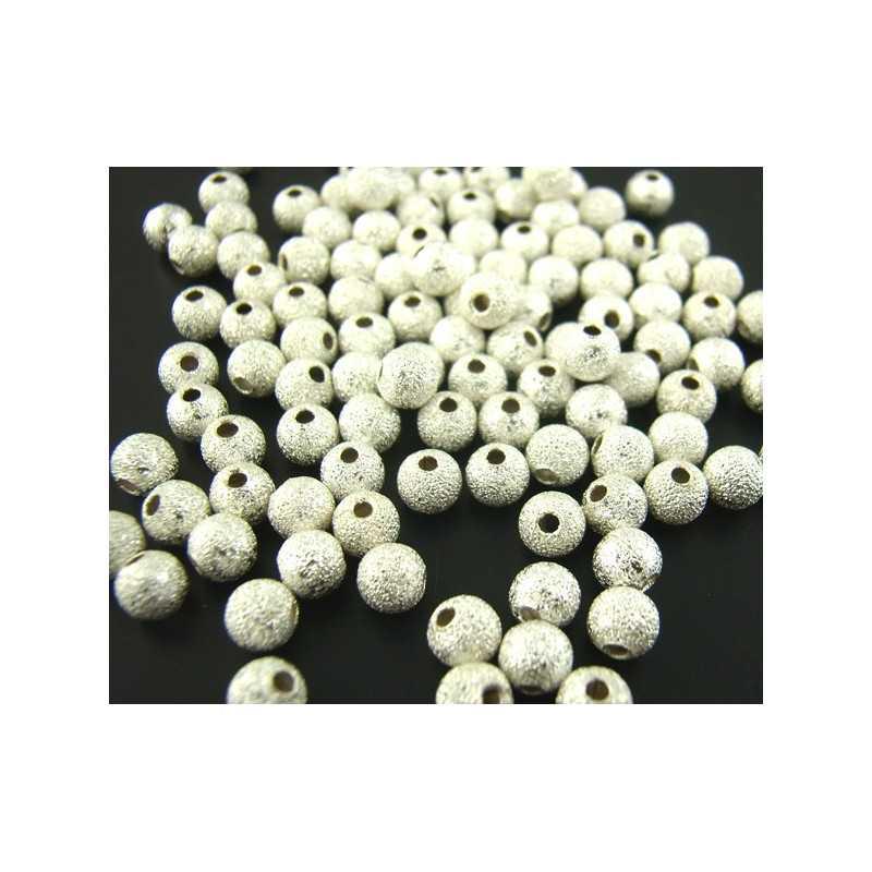 50 Perles Stardust 4mm Metal Argenté