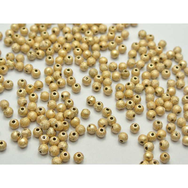 50 Perle Stardust 4mm Acrylique Doré Mat
