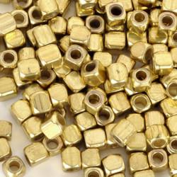 50 Perles Cube Acrylique 3mm Argenté ou Doré MC0103003-04