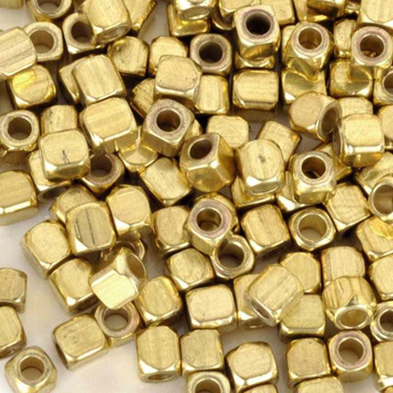 50 Perles Cube Acrylique 3mm Argenté ou Doré