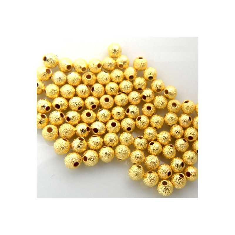 30 Perles Métal Stardust 5mm Doré