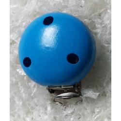 Clip Pince Attache Tetine Bleu en Bois 3,5 cm