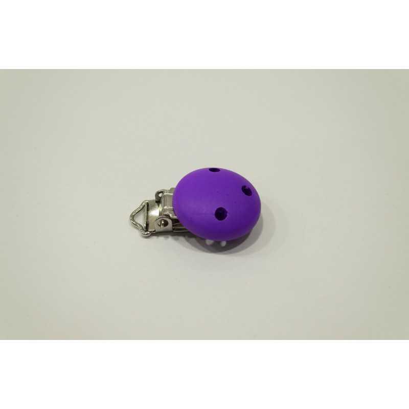 Clip Pince Attache Tetine Violet en Bois  3cm