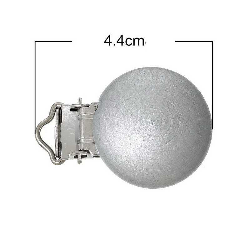 Clip Pince Attache Tetine Argenté en Bois 3cm