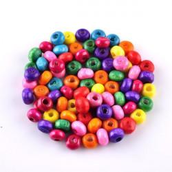 100 perles en bois brillant 4mm couleur mixte MC0104012