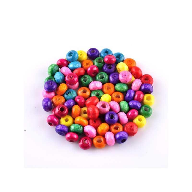 100 perles en bois brillant 4mm couleur mixte
