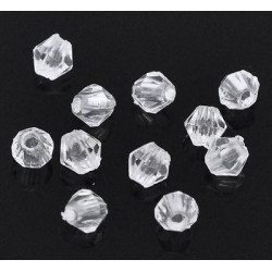 Lot 100 Transparent Perles Intercalaires Bicone toupie Acrylique 4 x 4mm MC0104021