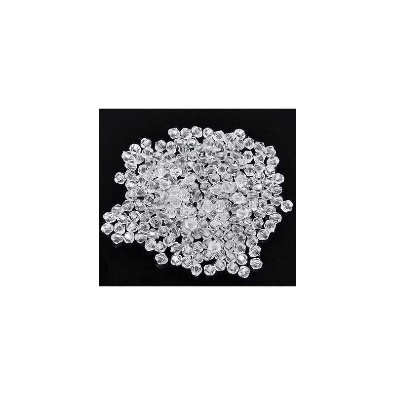 200 Transparent Perles Intercalaires Bicone toupie Acrylique 4 x 4mm