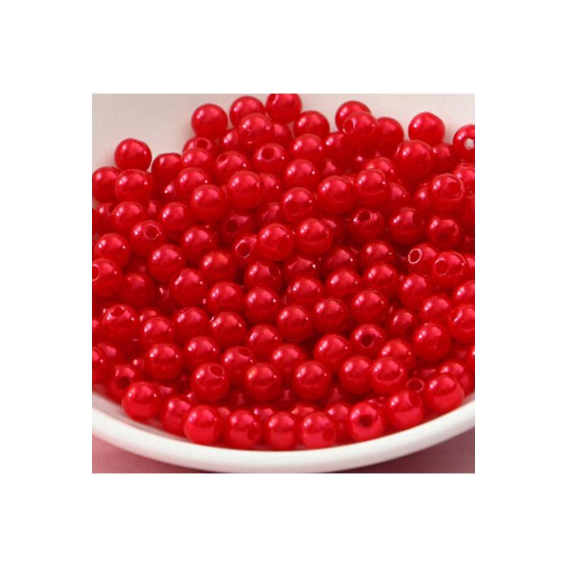 50 Perles 4mm Rouge imitation Brillant