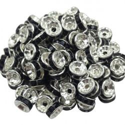 20 Perles Rondelle strass Argenté 8mm Couleur Noir MC0108004