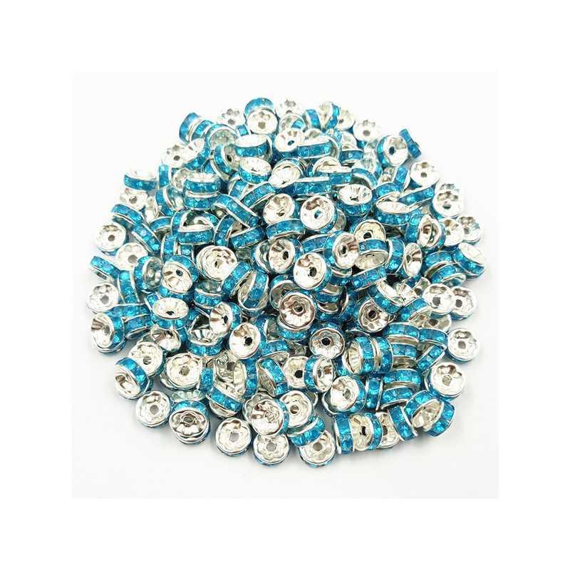 20 Perles Rondelle strass Argenté 8mm Couleur Turquoise