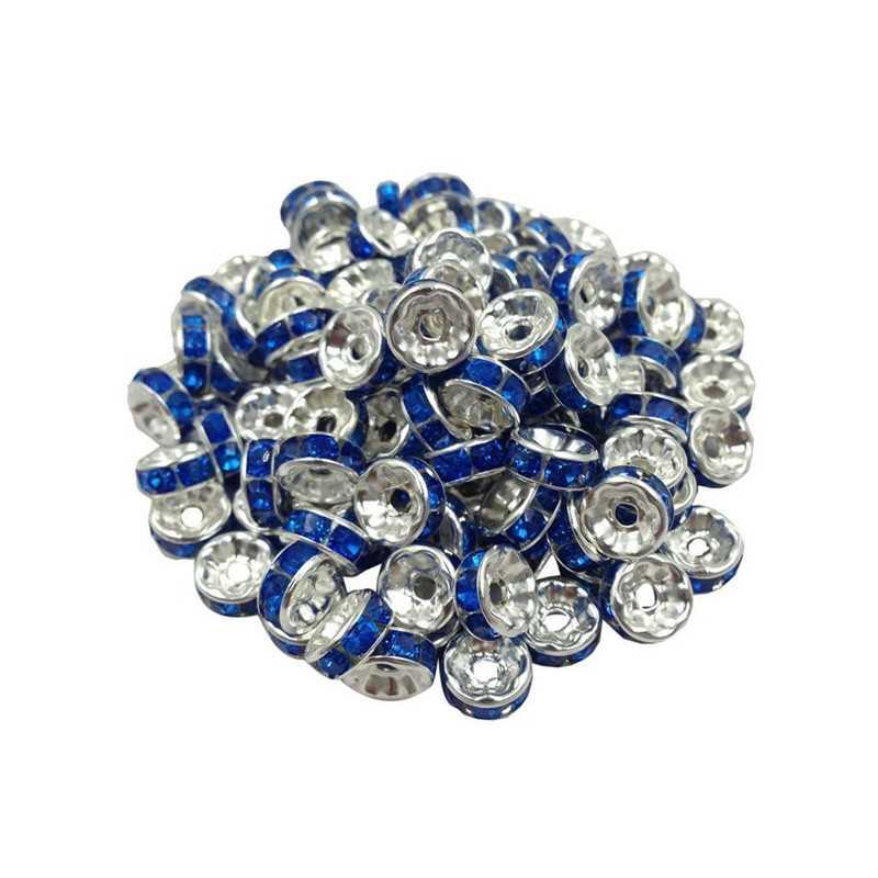 20 Perles Rondelle strass Argenté 8mm Couleur Bleu Marine