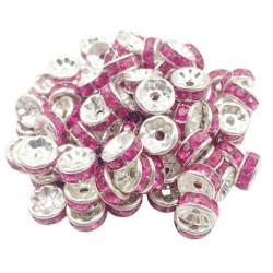 20 Perles Rondelle strass Argenté 8mm Couleur Rose MC0108009