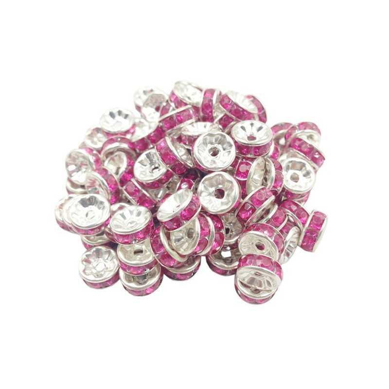 20 Perles Rondelle strass Argenté 8mm Couleur Rose