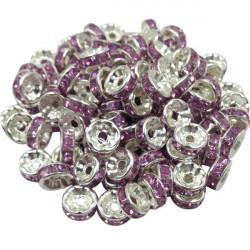 20 Perles Rondelle strass Argenté 8mm Couleur Violet MC0108008