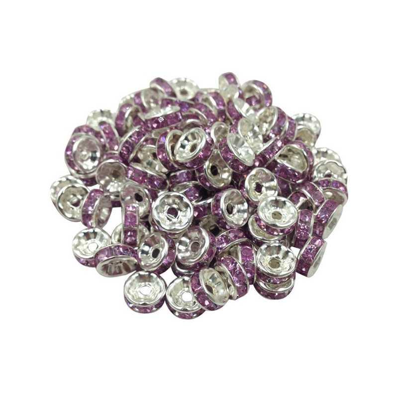 20 Perles Rondelle strass Argenté 8mm Couleur Violet