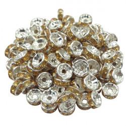 20 Perles Rondelle strass Argenté 8mm Couleur Doré MC0108010