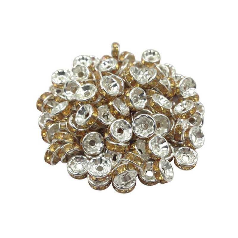 20 Perles Rondelle strass Argenté 8mm Couleur Doré