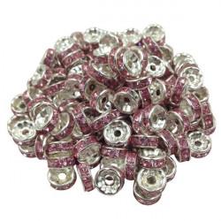20 Perles Rondelle strass Argenté 8mm Couleur Parme MC0108011