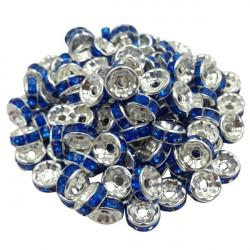 20 Perles Rondelle strass Argenté 8mm Couleur Au Choix MC0108001-11