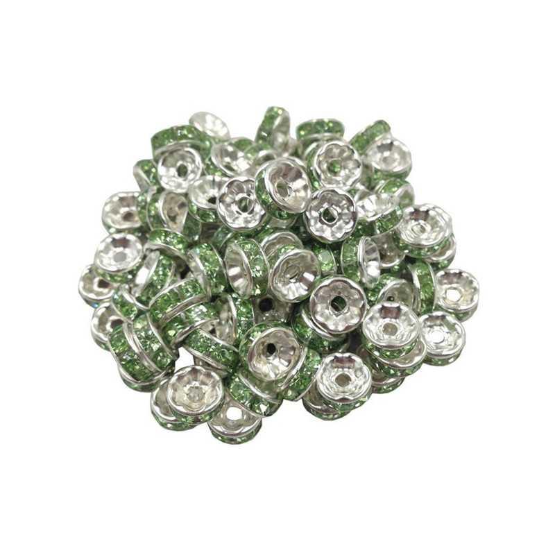 20 Perles Rondelle strass Argenté 8mm Couleur Au Choix