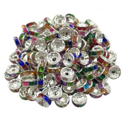 20 Perles Rondelle strass Argenté 8mm Couleur Multicolore MC0108018