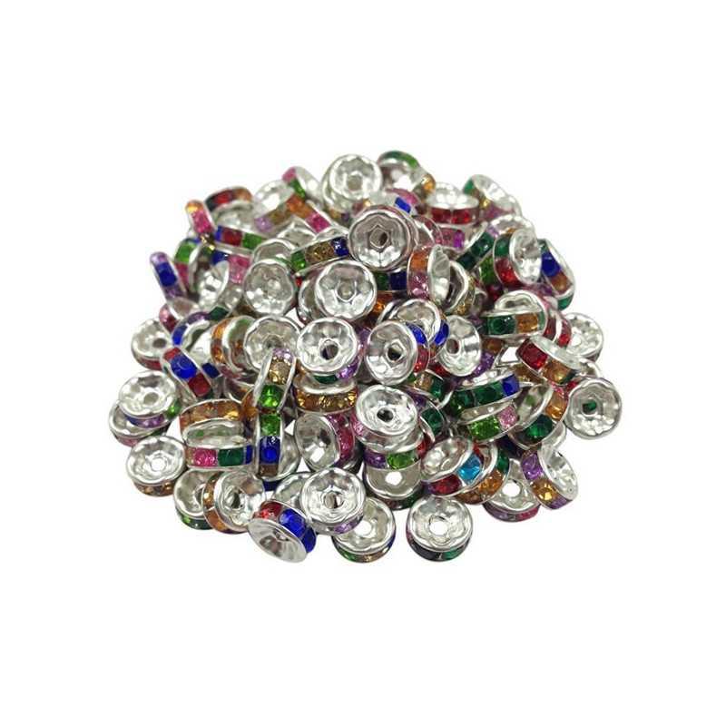 20 Perles Rondelle strass Argenté 8mm Couleur Multicolore
