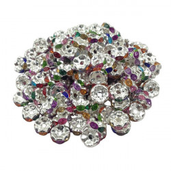 20 Perles Rondelle strass Argenté 8mm Couleur Mixte Multicolore MC0108012