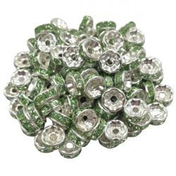 20 Perles Rondelle strass Argenté 8mm Couleur Vert Pomme MC0108007
