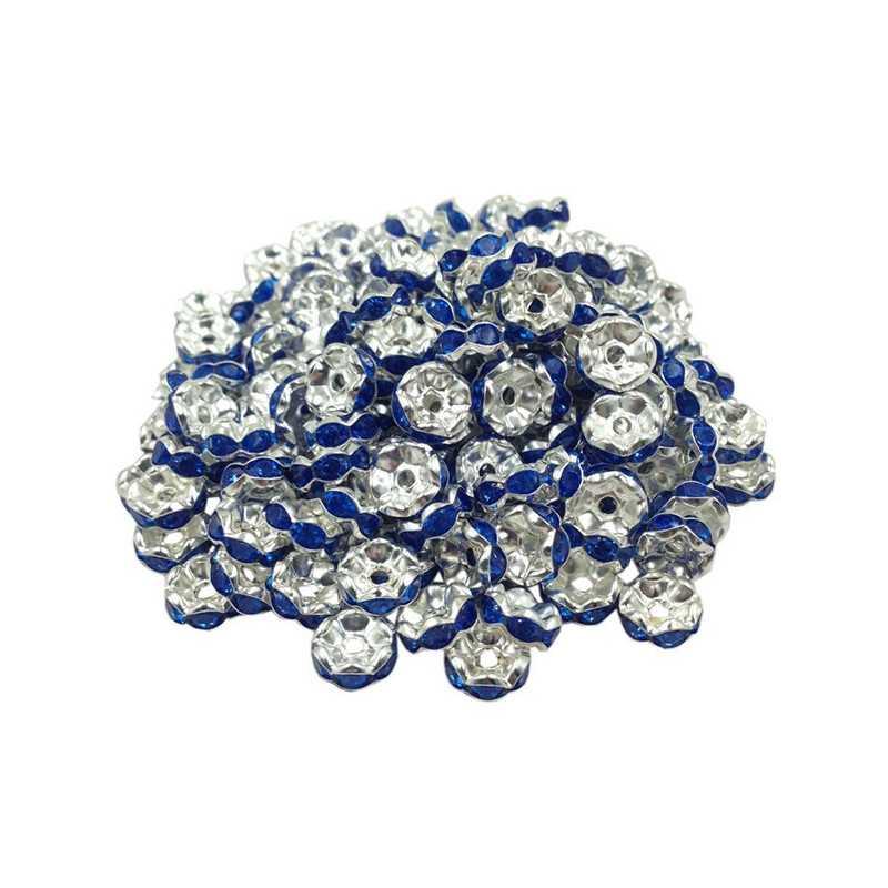 Lot 20 Perles Rondelle strass Argenté 8mm Couleur Bleu Marine