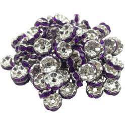 Lot 20 Perles Rondelle strass Argenté 8mm Couleur Violet MC0108014
