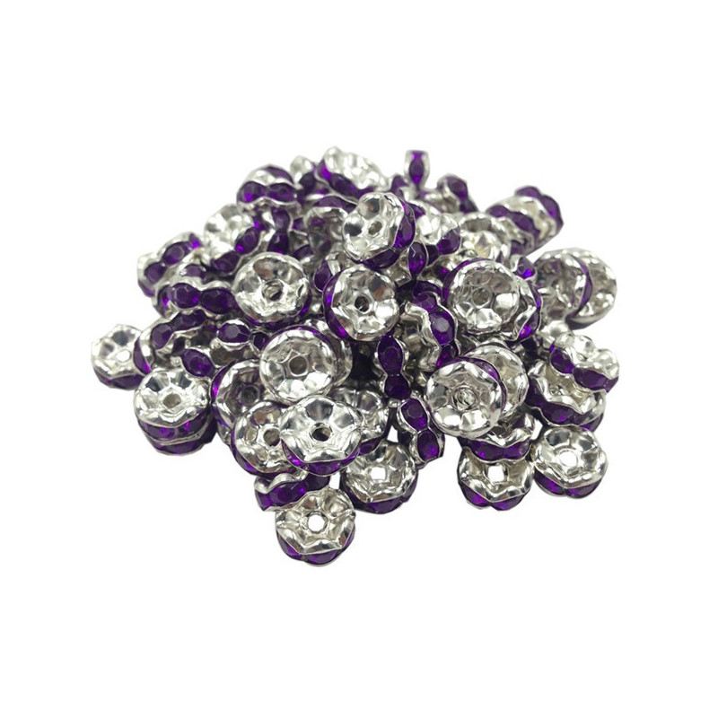 Lot 20 Perles Rondelle strass Argenté 8mm Couleur Violet