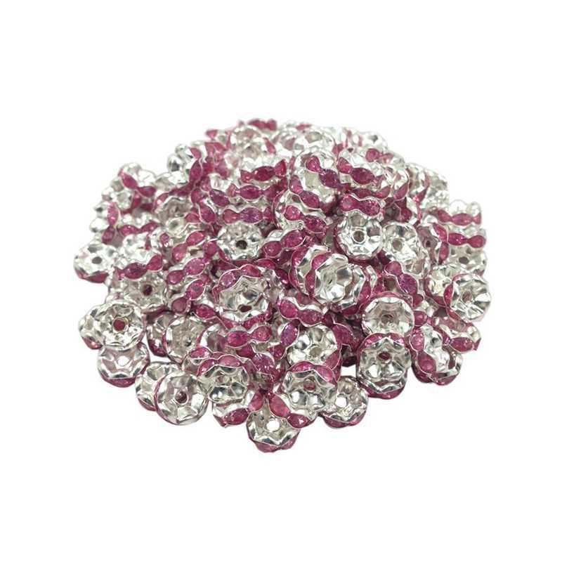 Lot 20 Perles Rondelle strass Argenté 8mm Couleur Rose
