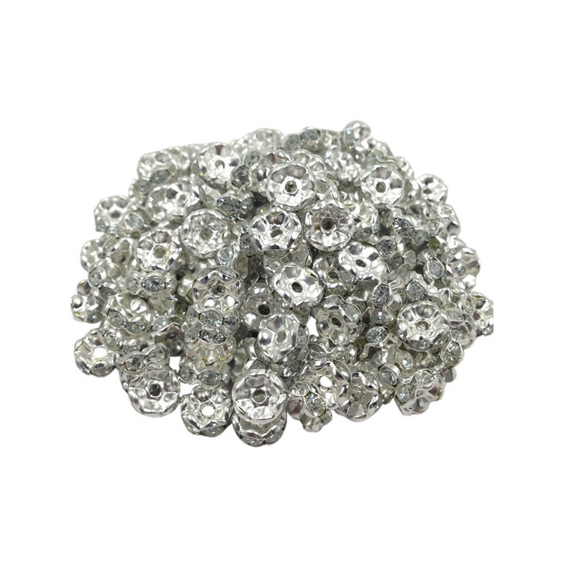 Lot 20 Perles Rondelle strass Argenté 8mm
