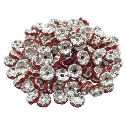 Lot 20 Perles Rondelle strass Argenté 8mm Couleur Rouge MC0108017
