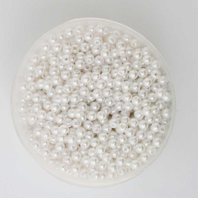 50 Perles 6mm Imitation Brillant Couleur Blanc