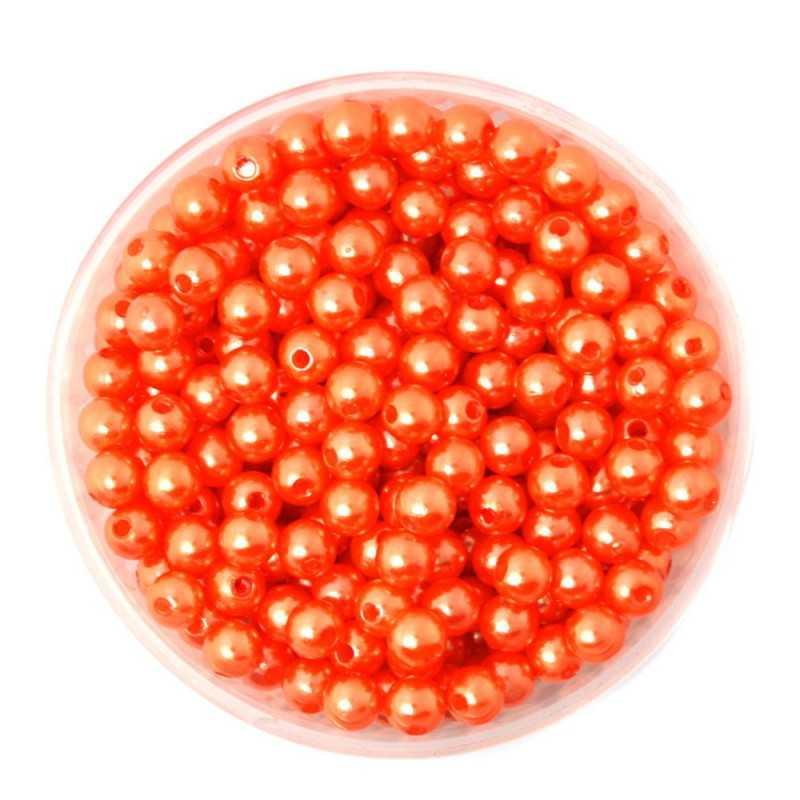 50 Perles 6mm Imitation Brillant Couleur Orange