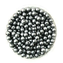50 Perles 6mm Imitation Brillant Couleur Gris MC0106033