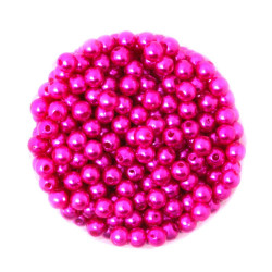 50 Perles 6mm Imitation Brillant Couleur Fuchsia MC0106038