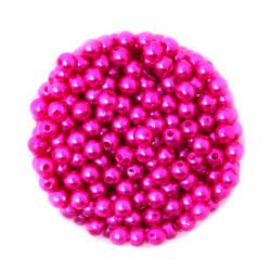 50 Perles 6mm Imitation Brillant Couleur Fuchsia MC0106038