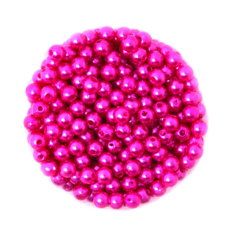 50 Perles 6mm Imitation Brillant Couleur Fuchsia