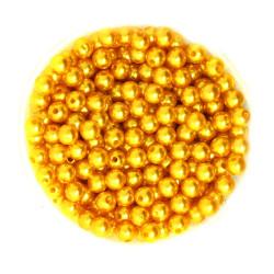 50 Perles 6mm Imitation Brillant Couleur Doré MC0106039