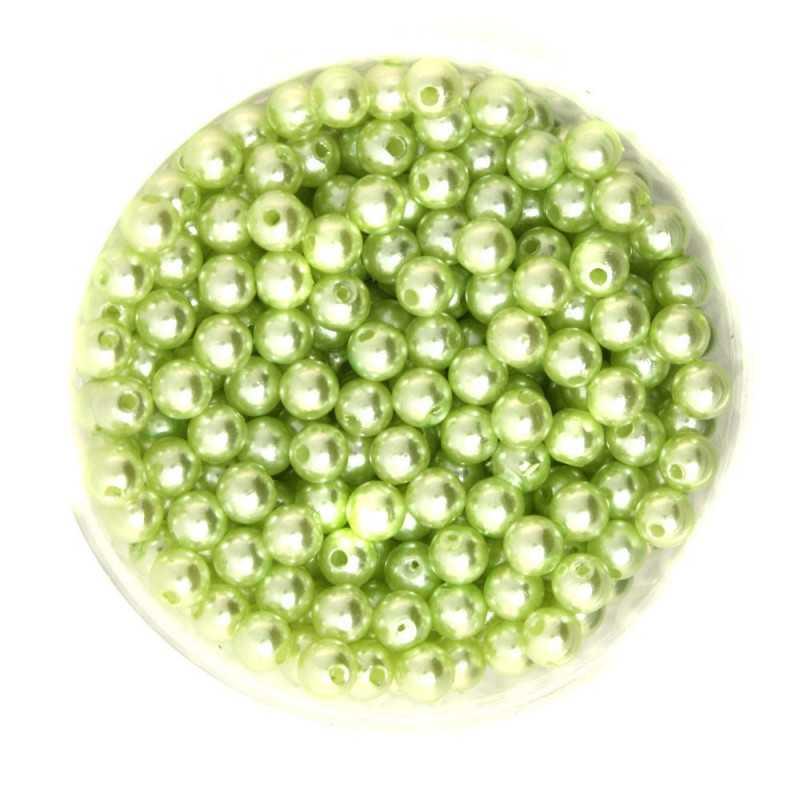 50 Perles 6mm Imitation Brillant Couleur Vert Pomme