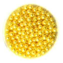 50 Perles 6mm Imitation Brillant Couleur Jaune MC0106041