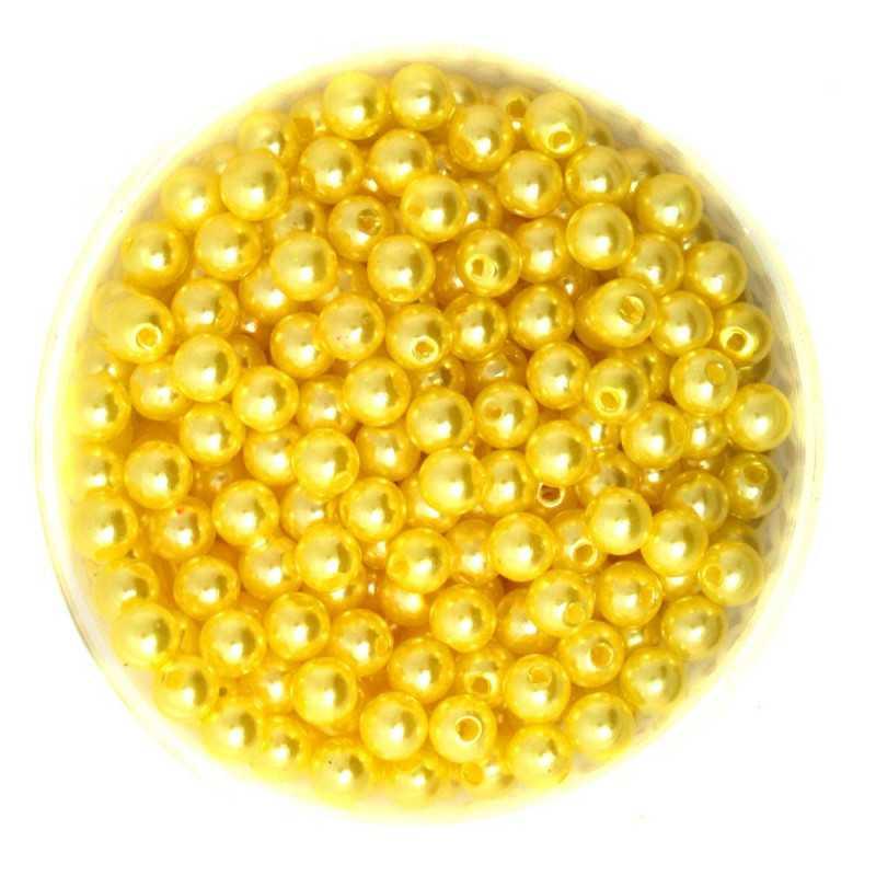 50 Perles 6mm Imitation Brillant Couleur Jaune